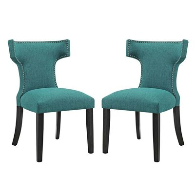 Curve Upholstered Dining Chair Upholstery: Teal