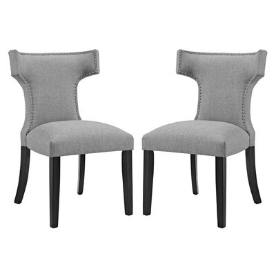 Curve Upholstered Dining Chair Upholstery: Light Gray