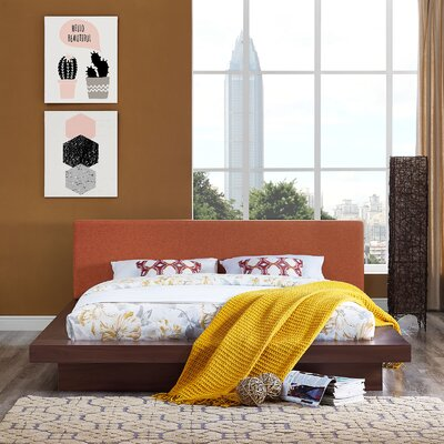 Rennan Queen Upholstered Platform Bed Color: Walnut Orange