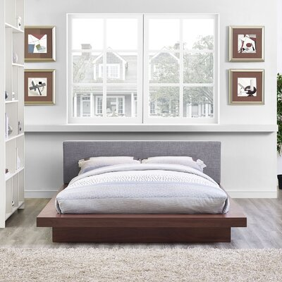 Rennan Queen Upholstered Platform Bed Color: Walnut Gray