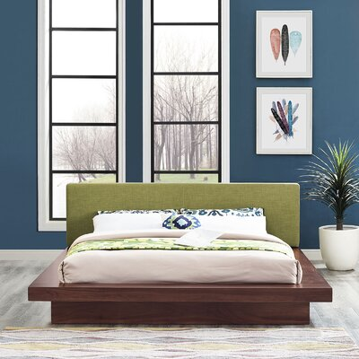 Rennan Queen Upholstered Platform Bed Color: Walnut Green