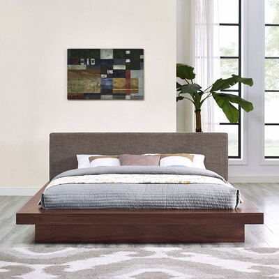 Rennan Queen Upholstered Platform Bed Color: Walnut Brown