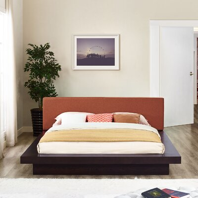 Rennan Queen Upholstered Platform Bed Color: Cappuccino Orange
