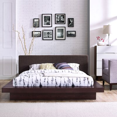 Rennan Queen Upholstered Platform Bed Color: Cappuccino Latte