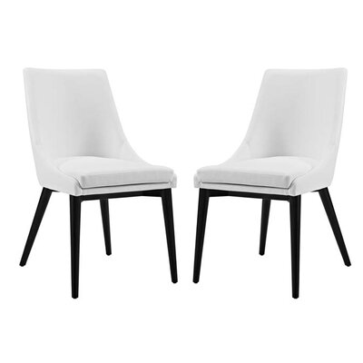 Carlton Vinyl Dining Side Chair Upholstery: White