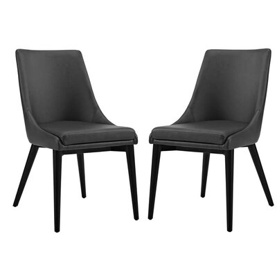 Carlton Vinyl Dining Side Chair Upholstery: Black
