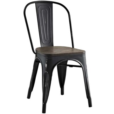 Ashlyn Solid Wood Dining Chair Color: Black