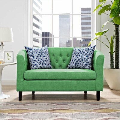 Ziaa Loveseat Upholstery: Green