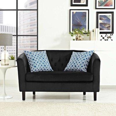 Ziaa Loveseat Upholstery: Black