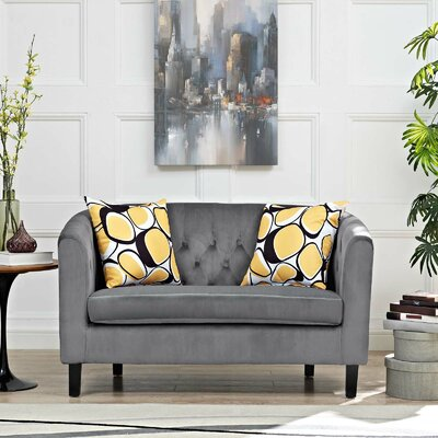 Ziaa Loveseat Upholstery: Dark Gray
