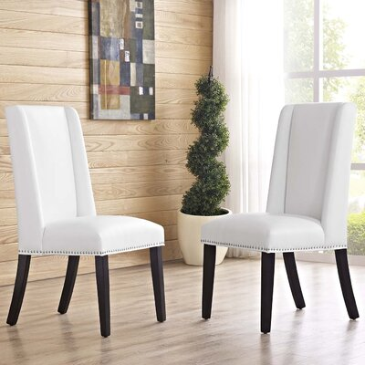 Battey Vinyl Dining Parsons Chair Upholstery: White