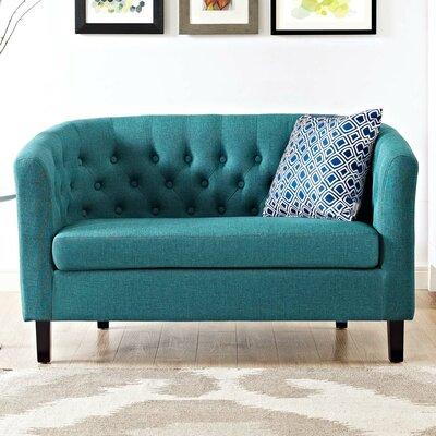 Ziaa Loveseat Upholstery: Teal