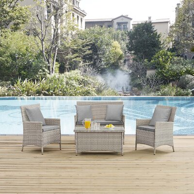 Azucena 4 Piece Lounge Seating Group with Cushions Fabric: Gray