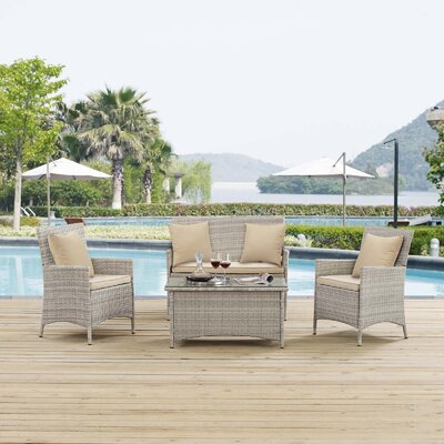 Azucena 4 Piece Lounge Seating Group with Cushions Fabric: Beige