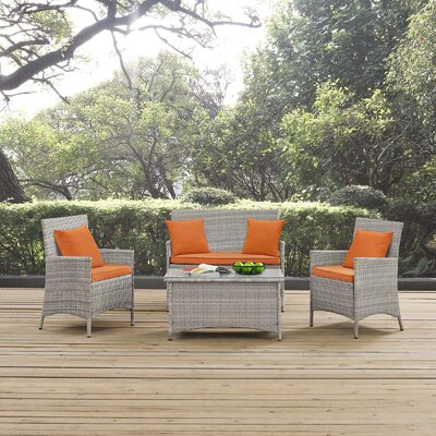 Azucena 4 Piece Lounge Seating Group with Cushions Fabric: Orange