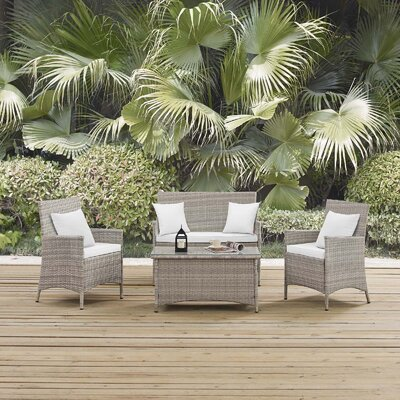Azucena 4 Piece Lounge Seating Group with Cushions Fabric: White