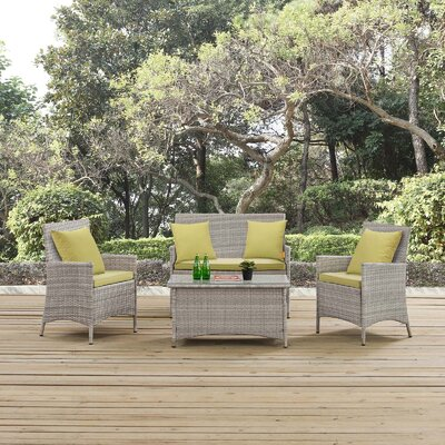 Azucena 4 Piece Lounge Seating Group with Cushions Fabric: Peridot