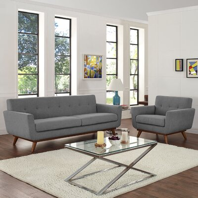 Saginaw 2 Piece Living Room Set Upholstery: Gray