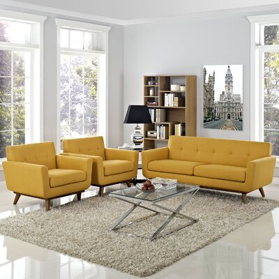 Saginaw 3 Piece Solid Living Room Set Upholstery: Citrus