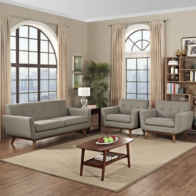 Saginaw 3 Piece Solid Living Room Set Upholstery: Granite