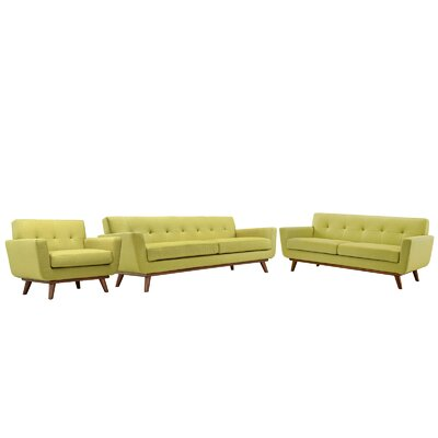 Saginaw 3 Piece Tufted Living Room Set Upholstery: Wheatgrass
