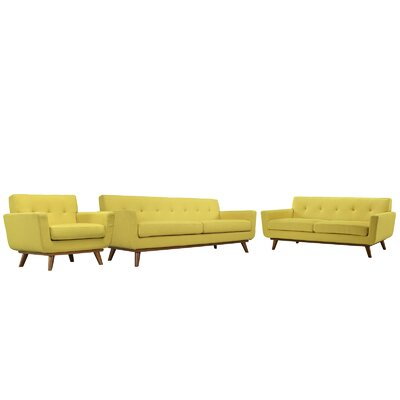 Saginaw 3 Piece Tufted Living Room Set Upholstery: Sunny