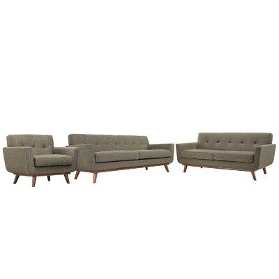 Saginaw 3 Piece Living Room Set Upholstery: Oatmeal