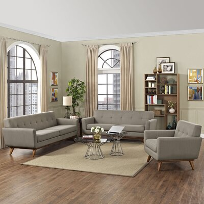 Saginaw 3 Piece Living Room Set Upholstery: Granite