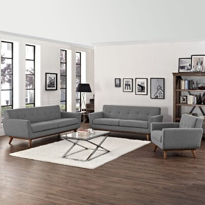 Saginaw 3 Piece Living Room Set Upholstery: Gray