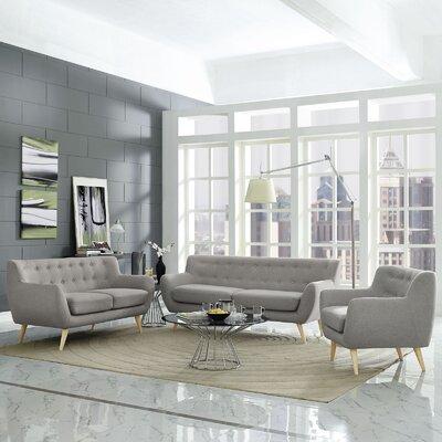 Meggie 3 Piece Living Room Set Upholstery: Light Gray