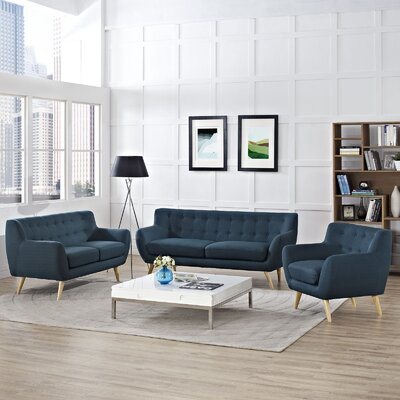Meggie 3 Piece Living Room Set Upholstery: Azure