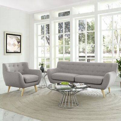 Meggie Armchair and Sofa Set Upholstery: Light Gray