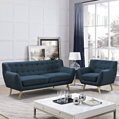Meggie Armchair and Sofa Set Upholstery: Azure
