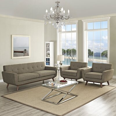 Saginaw 3 Piece Living Room Set Upholstery: Oatmeal
