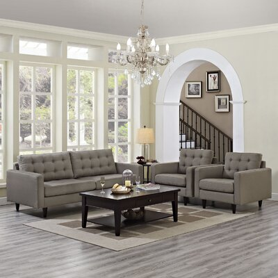 Warren 3 Piece Living Room Set Upholstery: Granite