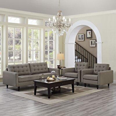 Warren 3 Piece Solid Living Room Set Upholstery: Granite