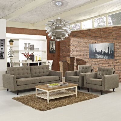 Warren 3 Piece Solid Living Room Set Upholstery: Oatmeal