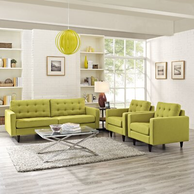 Warren 3 Piece Solid Living Room Set Upholstery: Wheatgrass