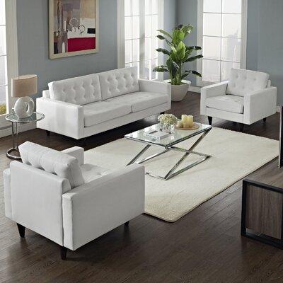Warren 3 Piece Tufed Living Room Set Upholstery: White