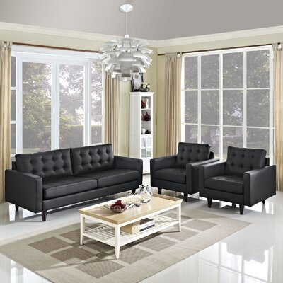 Warren 3 Piece Living Room Set Upholstery: Black