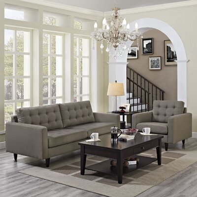 Warren 2 Piece Living Room Set Upholstery: Granite