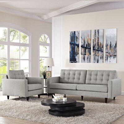 Warren 2 Piece Living Room Set Upholstery: Light Gray