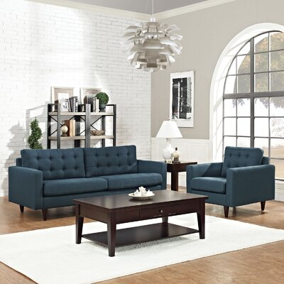 Warren 2 Piece Living Room Set Upholstery: Azure