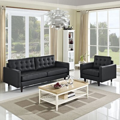 Warren 2 Piece Living Room Set Upholstery: Black