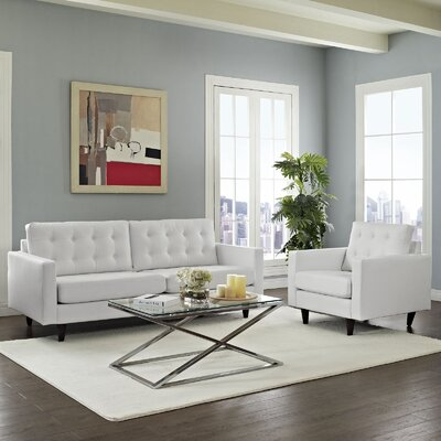 Warren 2 Piece Living Room Set Upholstery: White