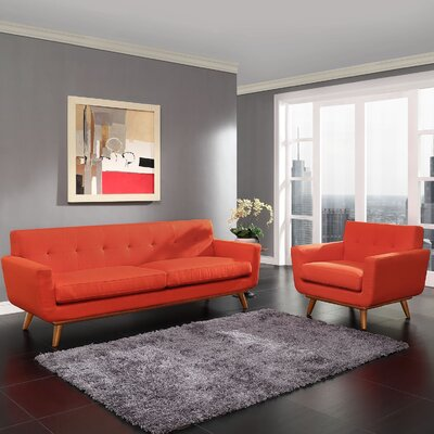 Saginaw Armchair and Sofa Set Upholstery: Atomic Red