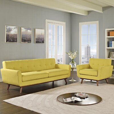 Saginaw Armchair and Sofa Set Upholstery: Sunny