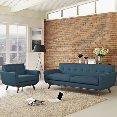 Saginaw 2 Piece Living Room Set Upholstery: Azure