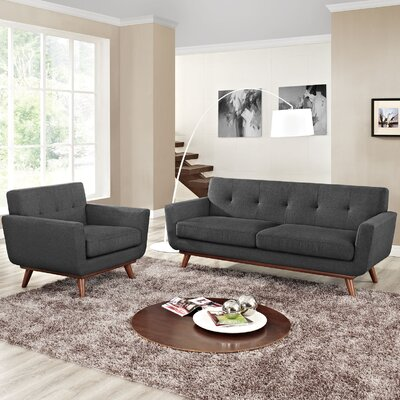 Saginaw Armchair and Loveseat Set Upholstery: Gray