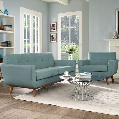 Saginaw Armchair and Loveseat Set Upholstery: Laguna